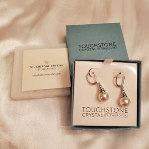 NWT Touchstone Crystal by Swarovski pearl earrings